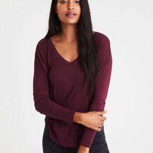 American Eagle Maroon Soft & Sexy Long Sleeve Top